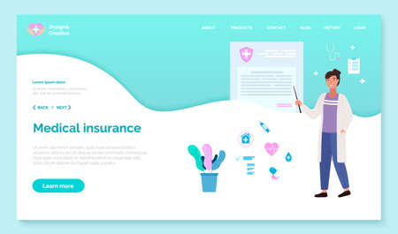 App for communication with healthcare professionals. Website for registration of medical insurance. Program landing page template. Woman in medical gown points to a poster with instructions