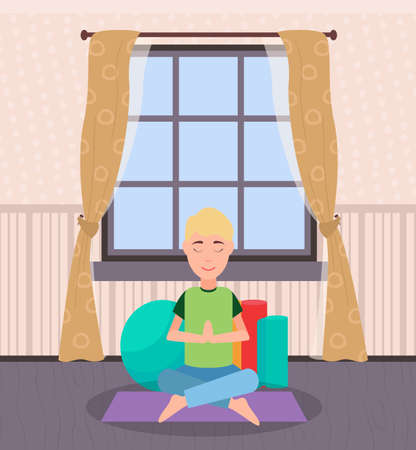 Male at home vector, person sitting on mat surrounded by soft pillows. Meditation and yoga, man in one pose leisure time, recreation and fun of people
