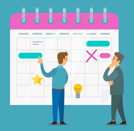 Office worker characters discussing operating schedule. Businessman check the planned calendar. Business people talking communication, discuss presentation of designful tasks. Business meeting concept