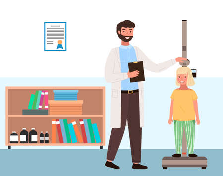 Doctor measures the child s height. Little patient on consultation in the therapist s office. Girl on medical check-up with male pediatrician doctor. Physical examination of the process of growing
