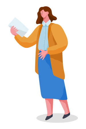 Businesswoman female character in formal clothes office worker or employee. Woman standing at full height holding paper document in her hands and reading vector illustration on white background