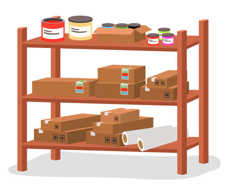 Racks with boxes and color containers cans with dyes or paint, printing house tools isolated vector illustration. Cardboard containers stand on wooden shelves in modern typography or print office