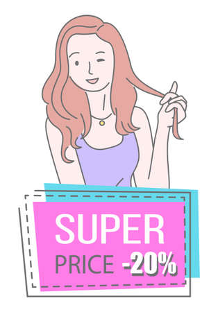 Sale banner with beautiful woman standing near advertising bright poster with lettering super price. Smiling girl with happy face expression showing a gesture ok winks an eye, discount shopping time