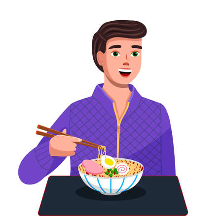 Young man eating noodles with chopsticks. Male character sitting at a table with plate of vermicelli with meat and vegetable and using chopsticks. Asian restaurant visitor dines national japanese food