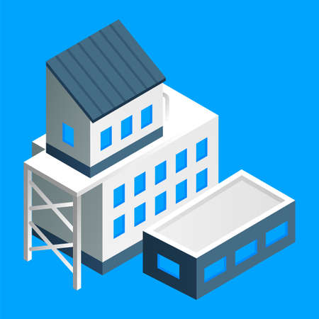 Isometric factory building vector illustration. Manufacture building with several housing isolated on blue background. Industrial construction in the factory. Household industrial structure premise