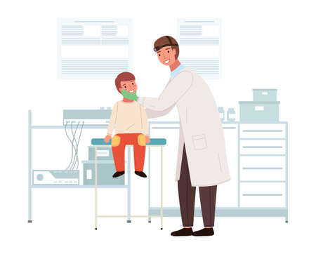 An otolaryngologist examines a child s sore throat. Doctor with patient in a medical laboratory. ENT holds the boy by the head to see his mouth. Man and kid characters on medical examination