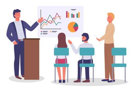 Office staff, employees. Annual report, graphs, charts. Man holds business presentation, pointing to whiteboard with analytics. Listeners are sitting on chairs. Man standing with document. Flat image