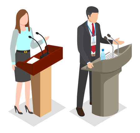Isometric image of the speakers of woman with report and man with badge standing behind the pulpit and microphones. People make speech in front public. Presenters stand on podium. Public performance