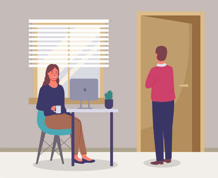 Office meeting and consideration of working affairs. Woman office worker discussing project with boss. Businessman dressed formally standing in room and talking to woman siting at table with laptop