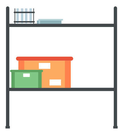 Shelves for storing medical equipment. Furniture item with test tubes and containers vector illustration. Table for instruments and tools isolated on white background. Arrangement of interior elements