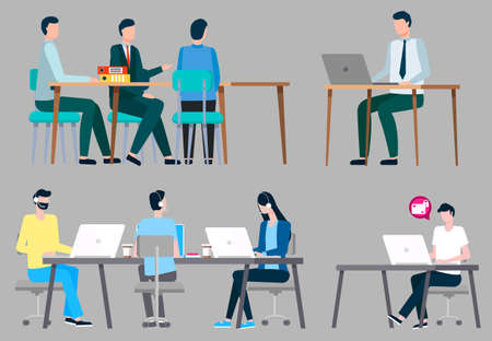 Collection of business characters. Isolated set of businessman on meeting. Leaders and employees with laptops discussing new ideas. Hotline call center with workers wearing headphones, vector Illusztráció