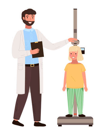 Girl on medical check-up with male pediatrician doctor. Physical examination of the growth process. The doctor measures the child s height. Little patient at the appointment with a pediatrician