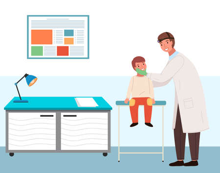 A patient with a sore throat at the doctor s appointment. Otolaryngologist treats a small child. Doctor with patient in a medical office in the hospital. ENT holds the boy by the head to see his mouth Vetores
