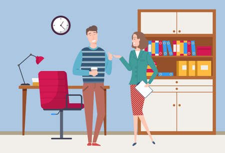 Smiling colleagues have a friendly conversation. Business meeting or working process. Woman standing in office workspace holding a document talking to man. Project management and teamwork concept