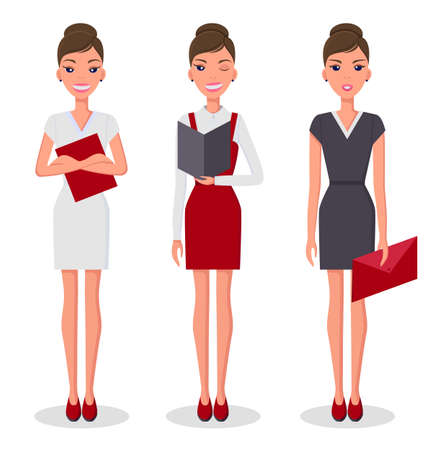 Business woman set in different poses vector illustration. Pretty young slim woman character in business clothes. Girl in different positions with folder in her hands. Cute slender female character