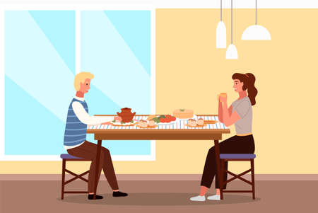 People at lunch in Russian style. Couple on a date in a theme restaurant eats pancakes and borscht. Man and woman communicating at dining table vector illustration. Characters taste traditional dishes