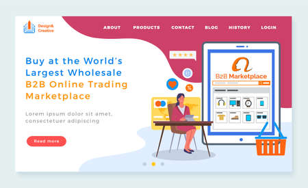Landing page of website. Buy at world s largest wholesale b2b online trading marketplace. Online shop. Selling products at website. Electronic money, ratings, discount icons. Spending money in e-store