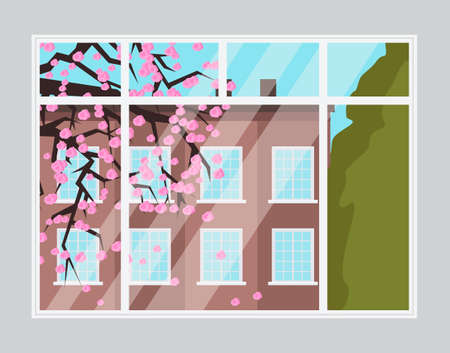 Illustration of a window with a view of the tall building and green tree landscape. Spring season cityscape. Warm sunny day blooming cherry outside the window, view from living room or apartment  イラスト・ベクター素材