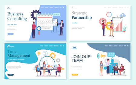 Business consulting, strategic partnership, time management, join our team webpage template. Business development processes and relationships, planning organization landing page with office characters Vecteurs