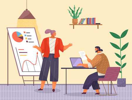 Business meeting or working process. Man sitting in office at a table with laptop, woman explains statistical charts. Project management and teamwork concept. Businessman make a financial report