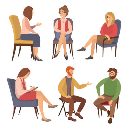 Group of people are sitting together on chairs and talking. The psychologist is asking questions. Conversation between persons and male psychologist or psychotherapist. Family psychotherapy