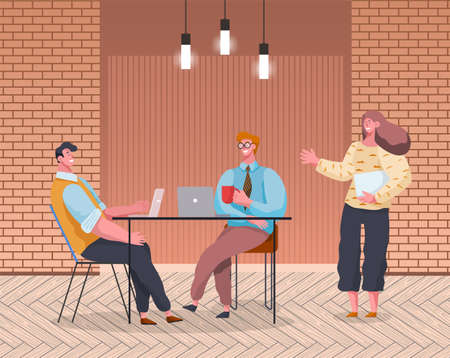Office workers man and woman meeting, discussing matters in room interior modern loft style. Business people dressed in formal clothes are talking, communicating. Employee is talking with chef Illustration