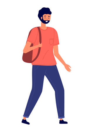 A man in casual clothes carries a backpack on his shoulder. Stylish young male character, vector illustration isolated on white background. Bearded guy with dark hair in jeans and a t-shirt walks