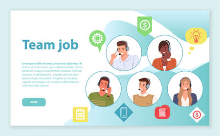 Landing page of website. Team job. Consultants or operators of call center or hotline solving customer s problems together in team. Team of mix race managers wearing headsets in circles at site