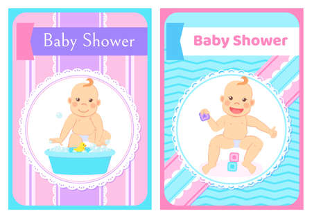 Baby shower greeting cards with kids in round frame. Vector milestones, eight month child sitting without support and bathing in water basin with duck