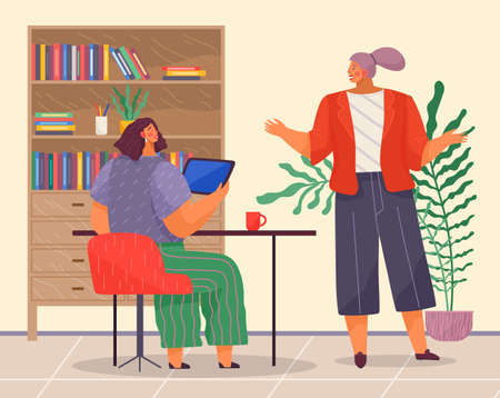 Office concept business people reason about a project at workplace. Emotional woman manager makes surprised gesture with her hands talking to chief. Lady boss sitting at a table holding tablet pc