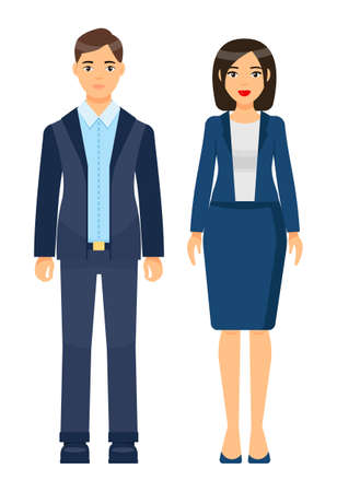 Collection of vector cartoon characters. Businesswomen and businessmen with different style office cloth, haircuts. Set of businesspeople wearing office suit, accessories. Dresscode of business person