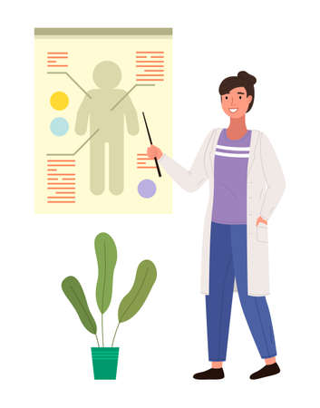 Doctor with pointer leads clarification on human body. Woman in medical gown points to a silhouette. Female therapist character on white background. Teacher in white coat conducts anatomy lesson
