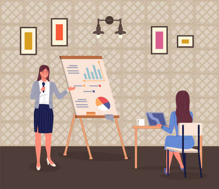 Business woman with a microphone holds presentation on the screen showing bar chart data for girl sitting at table with laptop and cup of coffee. Striped walls conference room, paintings and a lamp Stock Illustratie