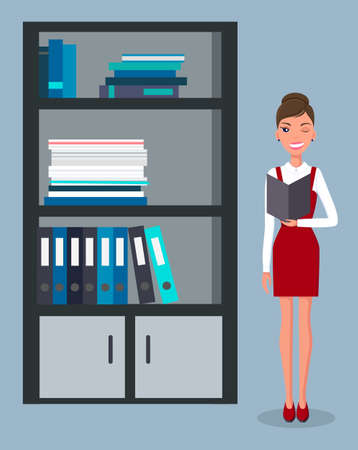Office manager, student flat vector illustration. Young girl organizing folders in bookshelf. Pretty young slim woman in business clothes in the office interior. Worker at company documents archive Vektorové ilustrace