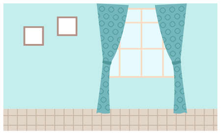 Illustration of living room window with blue curtains and pictures on the wall. Inside view of interior apartment with daylight, curtains hang on a cornice. Bright empty room for design flat vector