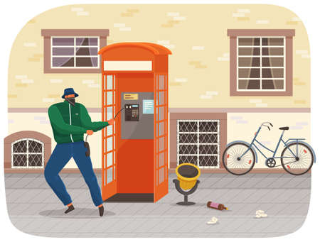 Vandal damaging the telephone booth on the town street. Bandit in mask and hat destroy city property. Street gangsters and vandalism concept. Cartoon vector illustration with a man breaks telephone