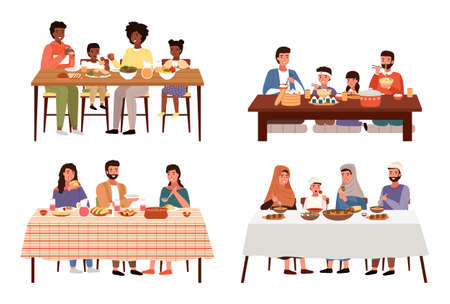 Set of illustrations on the theme of family dinner in different countries. Tasting of national dishes. Couples on dates isolated on white background. People communicate and spend time together