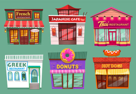 Collection of buildings exteriors. Thai restaurant, french cafe, greek facade and japanese cuisine. Hot dogs and donuts shop selling sweets and desserts. Set of stores with sign boards vector