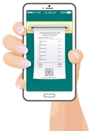 Bills online payment flat isometric vector concept of mobile payment, shoping, banking. Electronic notification of invoice payment. woman s hand holding a smartphone with a check on the screen