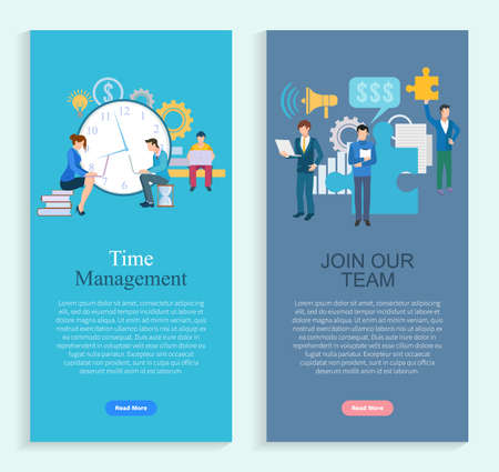 Time management and join our team app slider. Workers developing, man and woman employees working, company growth, professional teamwork, invest vector. Webpage or landing page template flat style Illustration