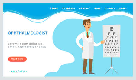 Ophthalmic assistance, consultation with doctor landing page template with male ophthalmologist. Optometrist points to the table for testing visual acuity. A doctor in a white coat checks eyesight