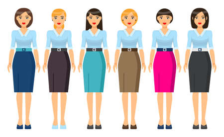 Cartoon characters. Woman brunette with short haircut wearing different clothes. Girl in business look. Businesslady wear business dress, skirt and blouse, office suit with jacket. Set of clothes Illustration