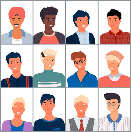 Set of people different nationalities. Close-up of young men. Arabs, Europeans, Africans. Modern young people. Avatar characters isolated on white, large characters collection. Flat vector image