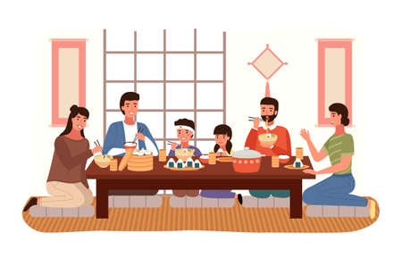 Relatives eating Japanese food. People in national oriental costumes isolated on white background. Dining room in traditional oriental Japan style illustration. Dining table with sushi and manti