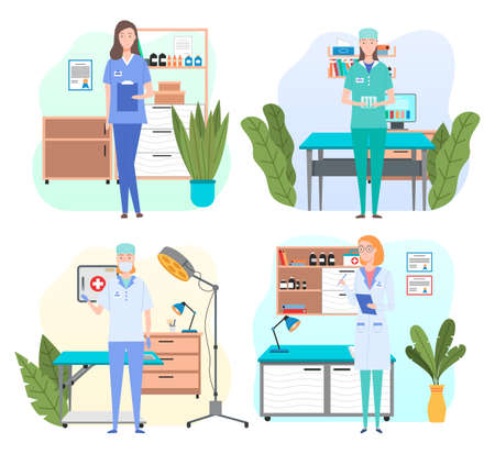 Man and wooman doctors in their workplaces in medical office set. Health protection concept. Male and female characters medic and nurse in medical clothes in the hospital ready to accept the patient