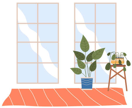 Living room with two transparent windows and potted plants on the wooden stand and a carpet. Inside view of the interior apartment with daylight. Contemporary furniture, empty space for design  イラスト・ベクター素材