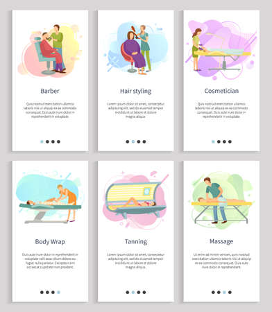 Massage and tanning vector, body wrap and cosmetician, hair styling and barber services of specialist for wellness and beautification set. Website or slider app, landing page flat style