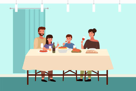 Italian family at home vector illustration. Dining table with pasta and snack. Arrangement of furniture. People eating italian food in apartment. Parents drink wine. Children with forks in their hands