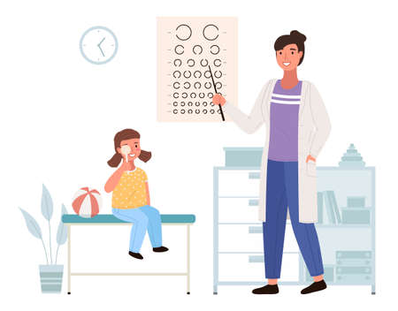 Optometrist checks the child s eyesight. Table for testing visual acuity in the medical office. Doctor in white coat conducting study of state of vision. Girl at the appointment with ophthalmologist
