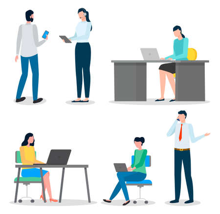 Business characters working at their workplaces at the table with computers flat design. People man and woman office workers set. Businesspeople communicating, common office life vector illustration